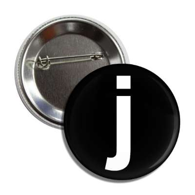 letter j lower case black white button