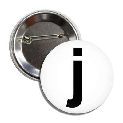 letter j lower case white black button
