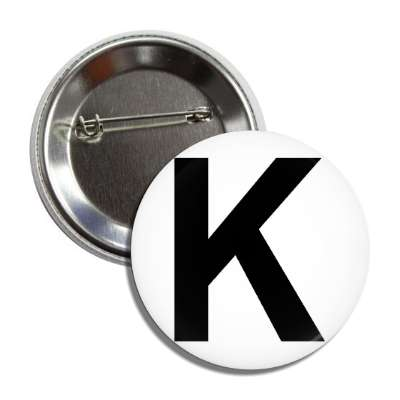 letter k capital white black button