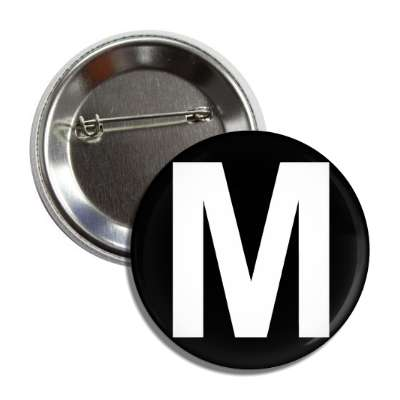 letter m capital black white button