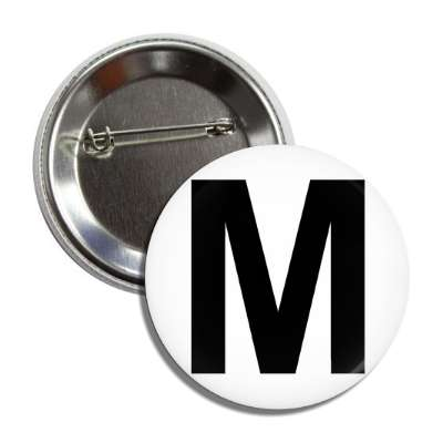 letter m capital white black button