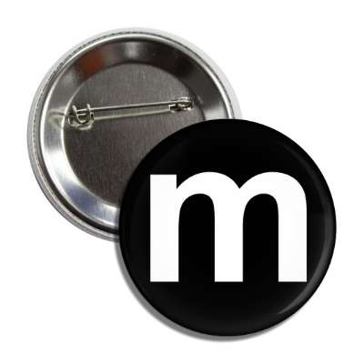 letter m lower case black white button