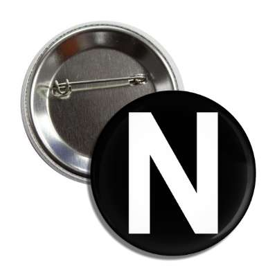 letter n capital black white button