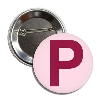 letter p capital pink dark red button