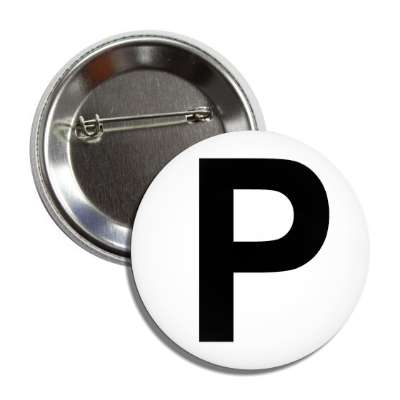 letter p capital white black button