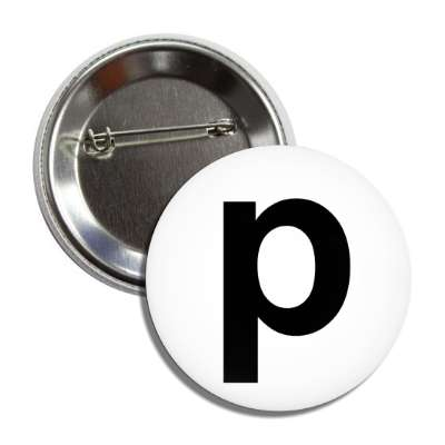 letter p lower case white black button