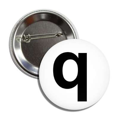 letter q lower case white black button