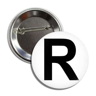 letter r capital white black button