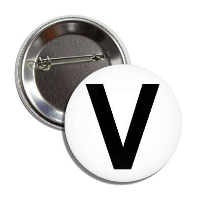 letter v capital white black button