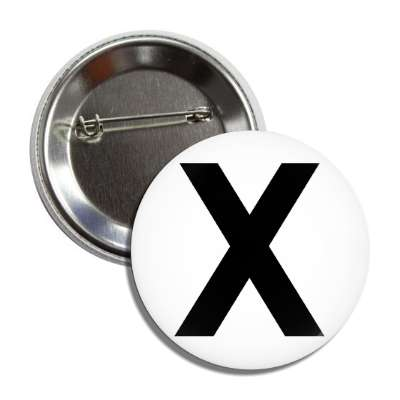 letter x capital white black button