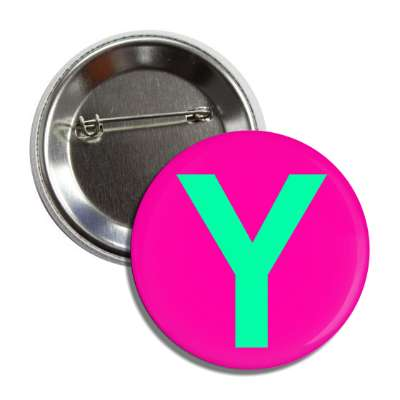 letter y capital hot pink mint green button