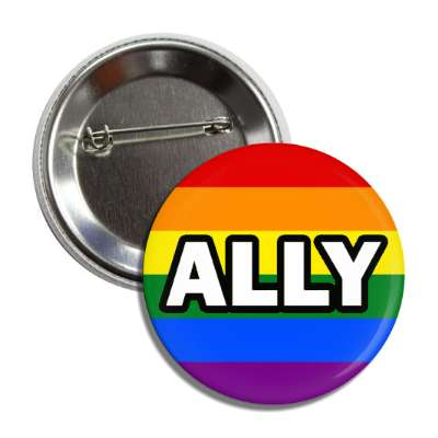 lgbt ally rainbow flag button