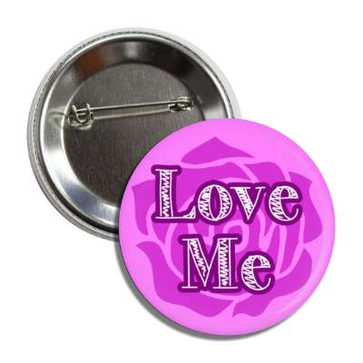 love me purple rose silhouette button