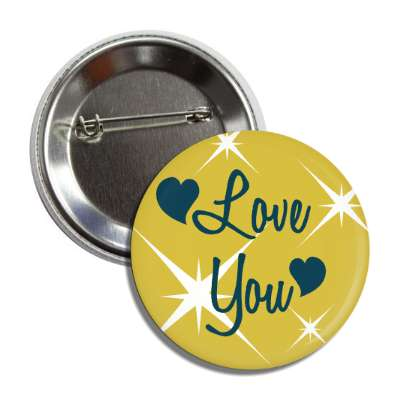 love you hearts stars button