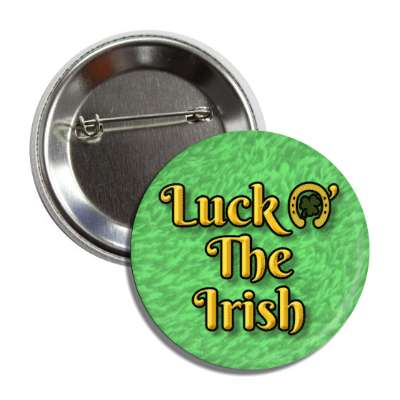 luck o the irish light green horse shoe button