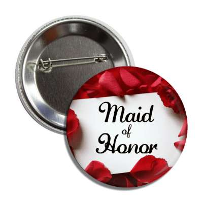 maid of honor card red petals button