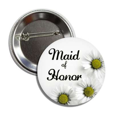 maid of honor white flowers button