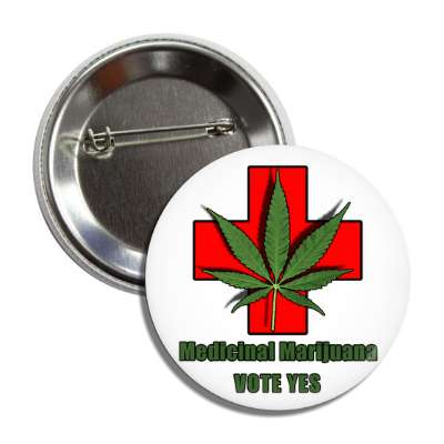 medical marijuana vote yes red cross button
