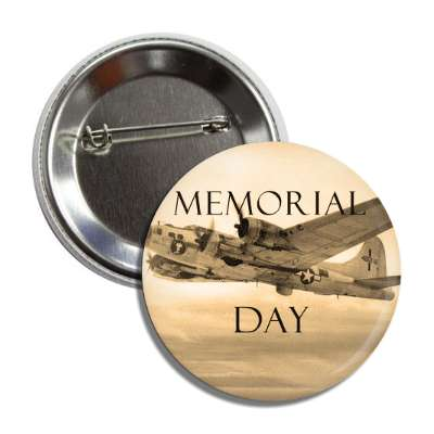 memorial day vintage plane sepia button