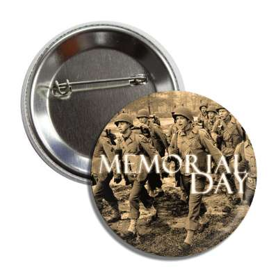memorial day vintage troops sepia button