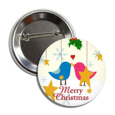 merry christmas birds stars flakes ornaments button