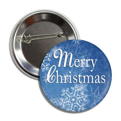 merry christmas blue frost snowflakes button