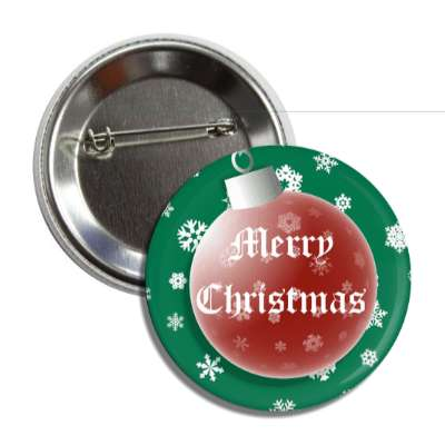 merry christmas green red ornament snowflakes button