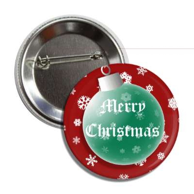merry christmas red green ornament snowflakes button