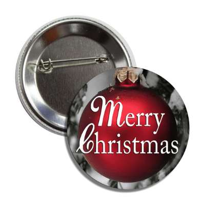 merry christmas red ornament classic white button