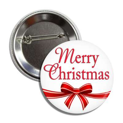 merry christmas ribbon white red button