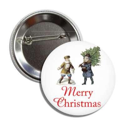 merry christmas vintage kids tree button