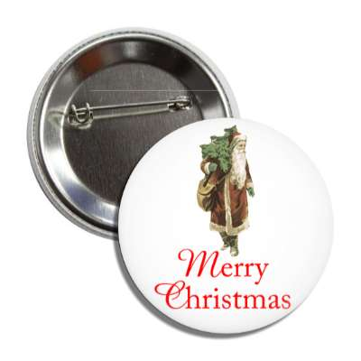 merry christmas vintage santa claus gifts button
