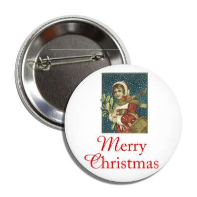 merry christmas vintage woman white red cursive button