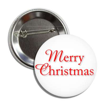 merry christmas white red classic button