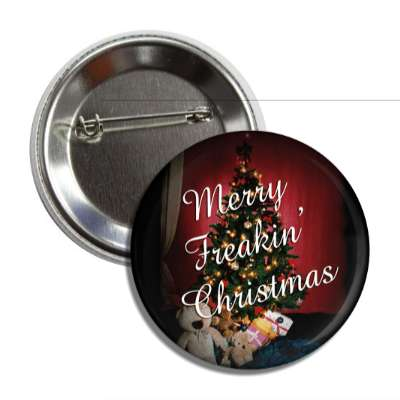 merry freakin christmas tree gifts button