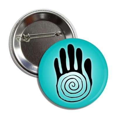 native american spiral hand teal button