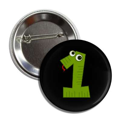 number 1 snake cartoon character button