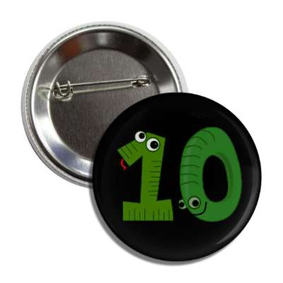 number 10 snake cartoon character button