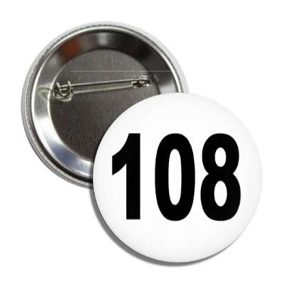 number 108 white black button
