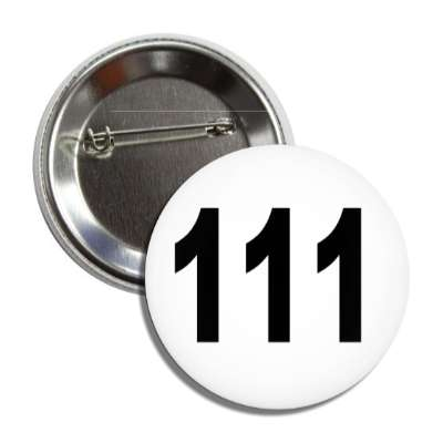 number 111 white black button
