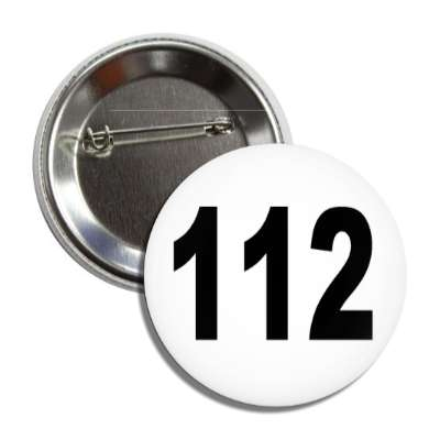 number 112 white black button