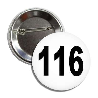 number 116 white black button