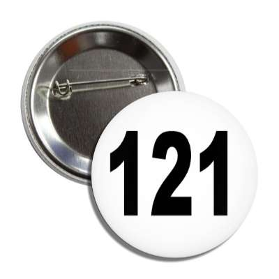 number 121 white black button