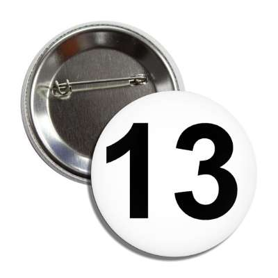 number 13 white black button