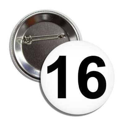 number 16 white black button