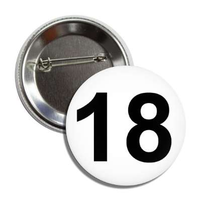 number 18 white black button