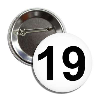 number 19 white black button
