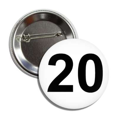 number 20 white black button