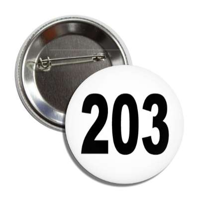 number 203 white black button