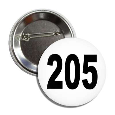 number 205 white black button
